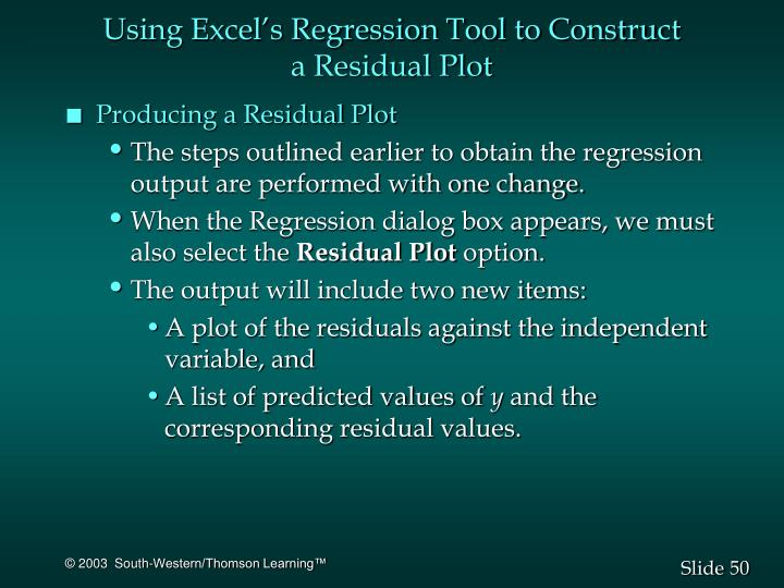 Using Excel's Regression Tool to Construct