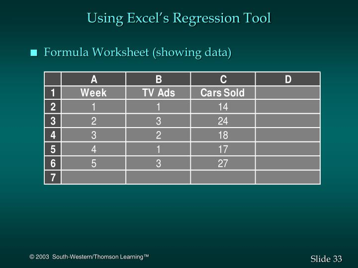 Using Excel's Regression Tool