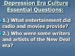 depression era culture essential questions