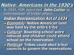 native americans in the 1930 s