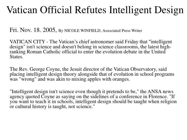 Vatican Official Refutes Intelligent Design