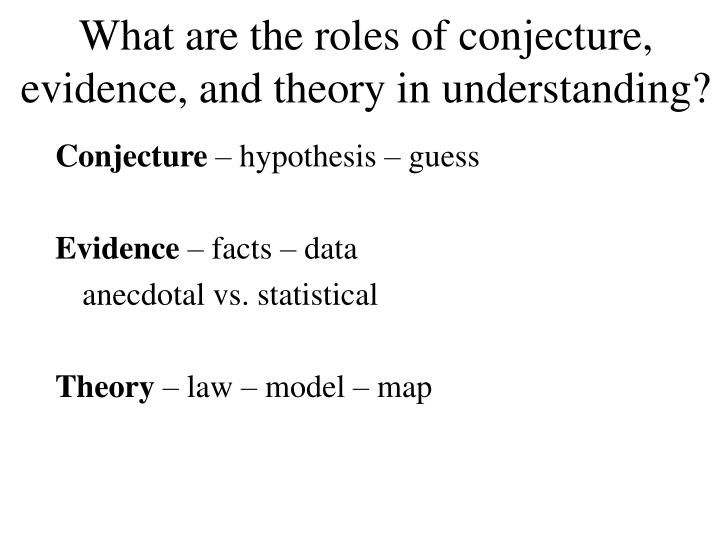 What are the roles of conjecture, evidence, and theory in understanding?