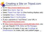 creating a site on tripod com