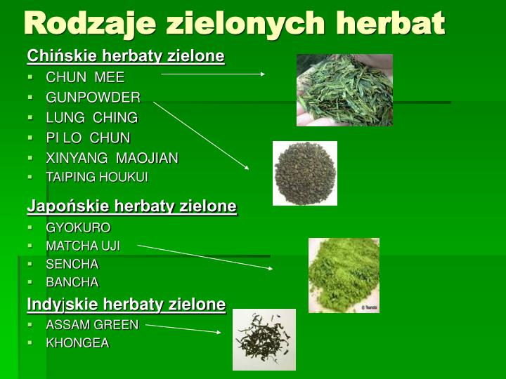 Rodzaje zielonych herbat