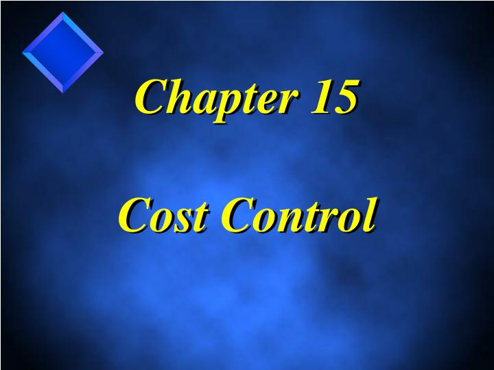 chapter 15 cost control