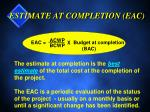 estimate at completion eac