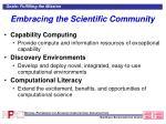 embracing the scientific community