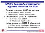npaci s balanced complement of high end resources for 2000