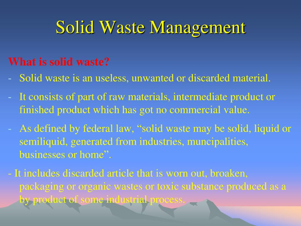ordinaire solid waste management n.