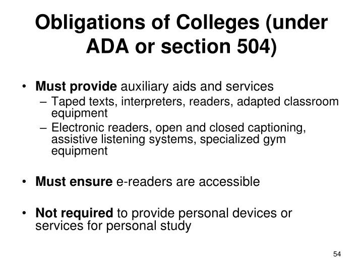 Obligations of Colleges (under