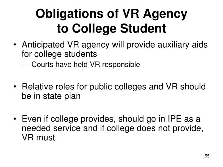 Obligations of VR Agency