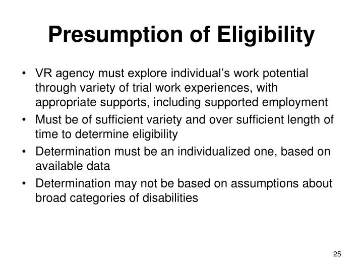 Presumption of Eligibility