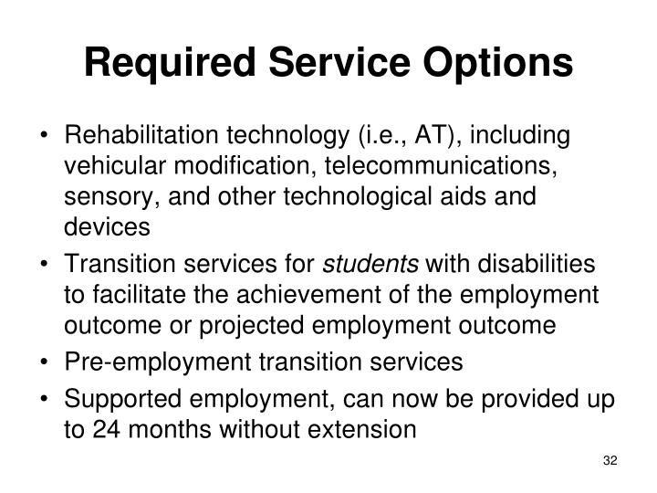 Required Service Options