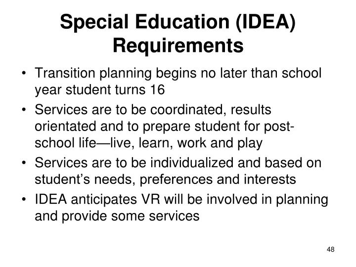 Special Education (IDEA) Requirements
