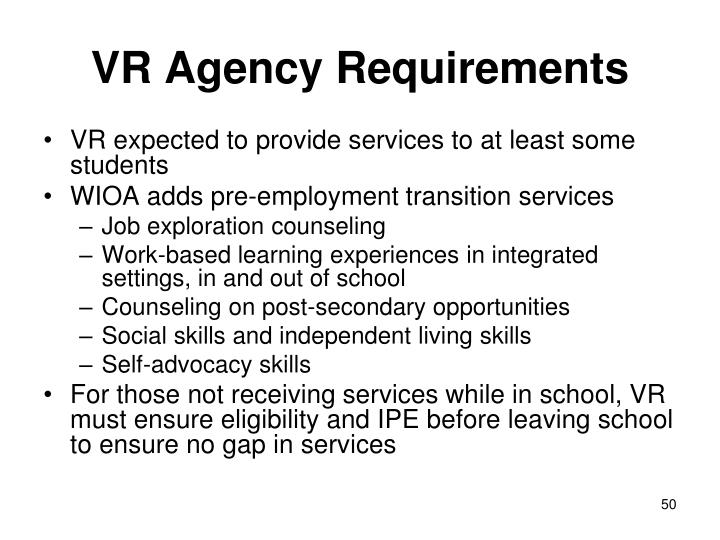 VR Agency Requirements