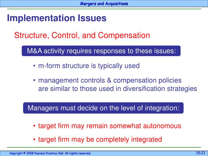 M&A activity requires responses to these issues: