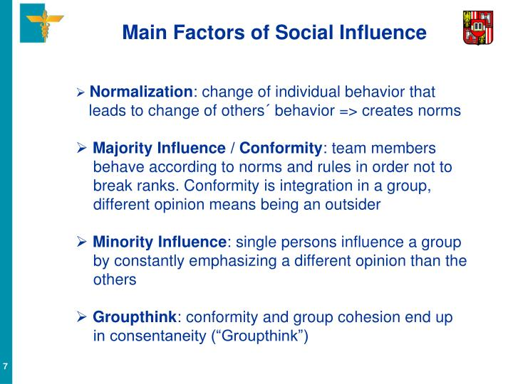 Main Factors of Social Influence
