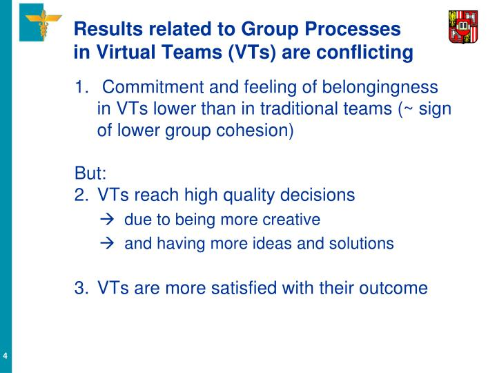 Results related to Group Processes in Virtual Teams (VTs) are conflicting