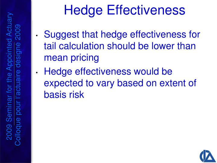 Suggest that hedge effectiveness for tail calculation should be lower than mean pricing
