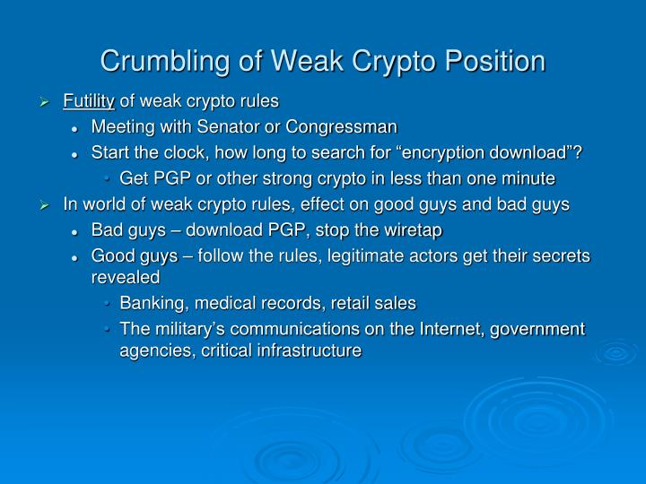 Crumbling of Weak Crypto Position