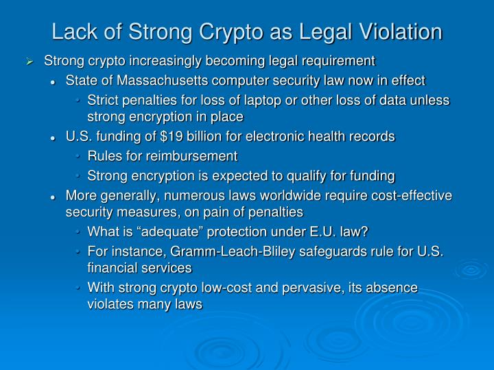 Lack of Strong Crypto as Legal Violation