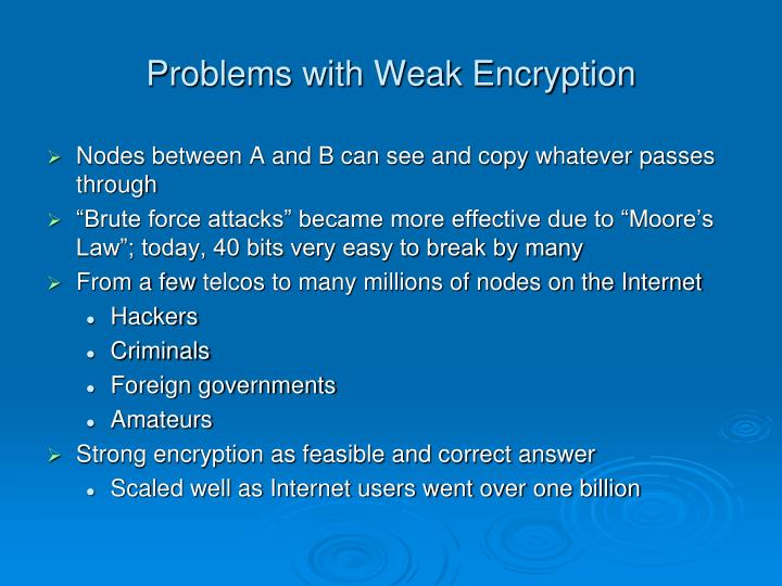 Problems with Weak Encryption