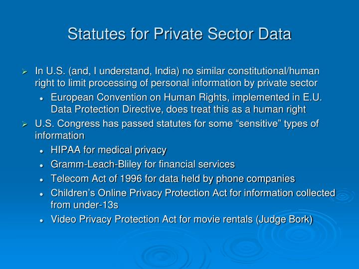 Statutes for Private Sector Data