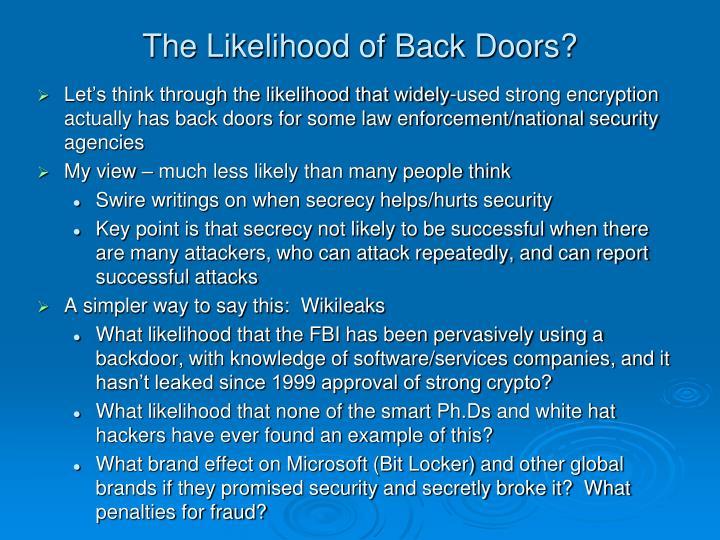 The Likelihood of Back Doors?