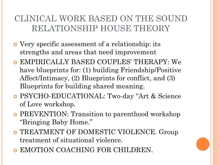 CLINICAL WORK BASED ON THE SOUND RELATIONSHIP HOUSE THEORY