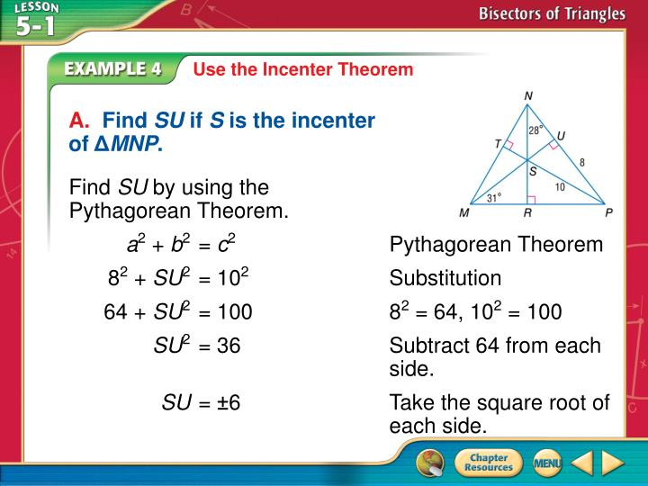 Use the Incenter Theorem