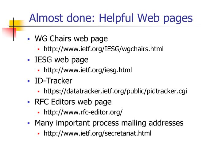Almost done: Helpful Web pages