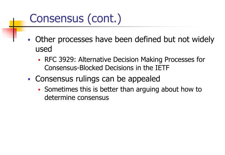 Consensus (cont.)