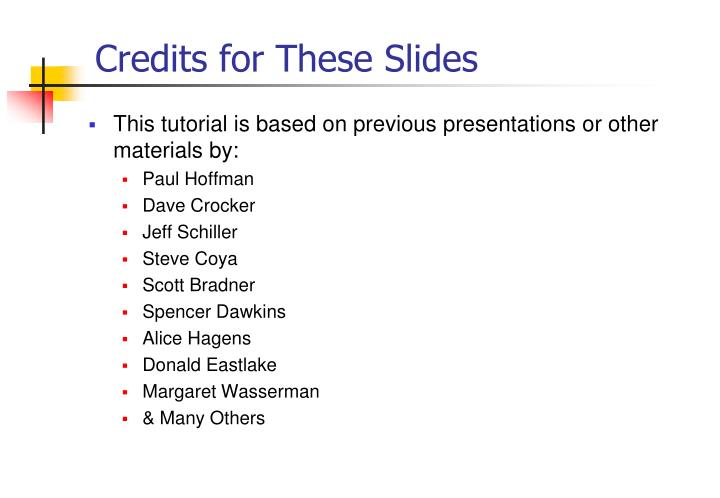 Credits for These Slides