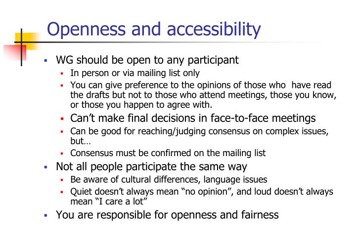 Openness and accessibility