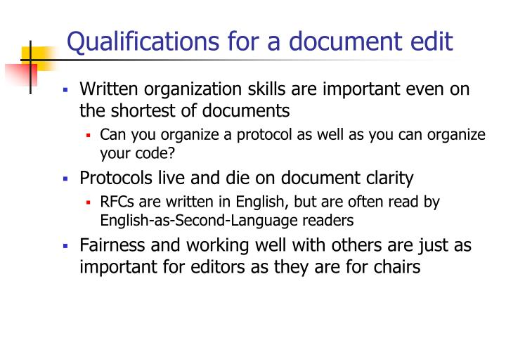Qualifications for a document edit