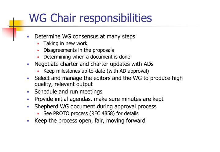 WG Chair responsibilities
