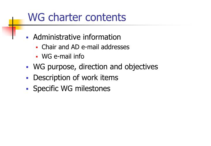 WG charter contents