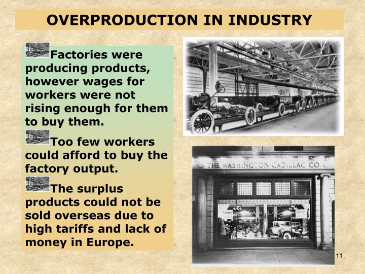 OVERPRODUCTION IN INDUSTRY
