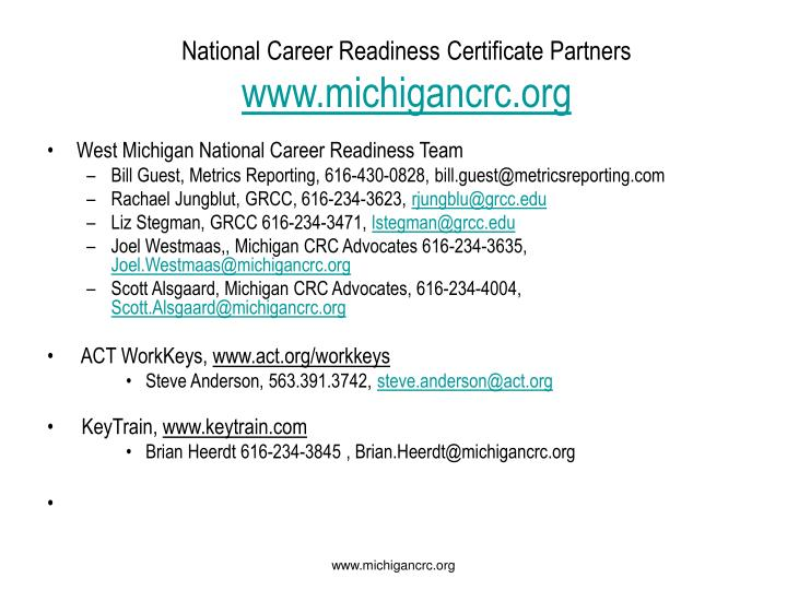 readiness certificate career national partners ppt powerpoint presentation