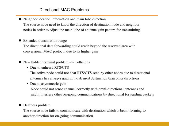 Directional MAC Problems
