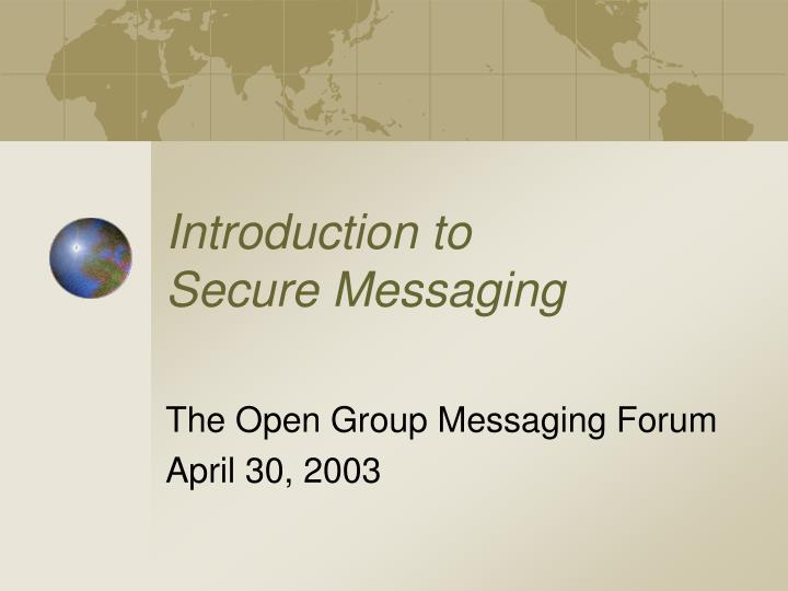 introduction to secure messaging n.
