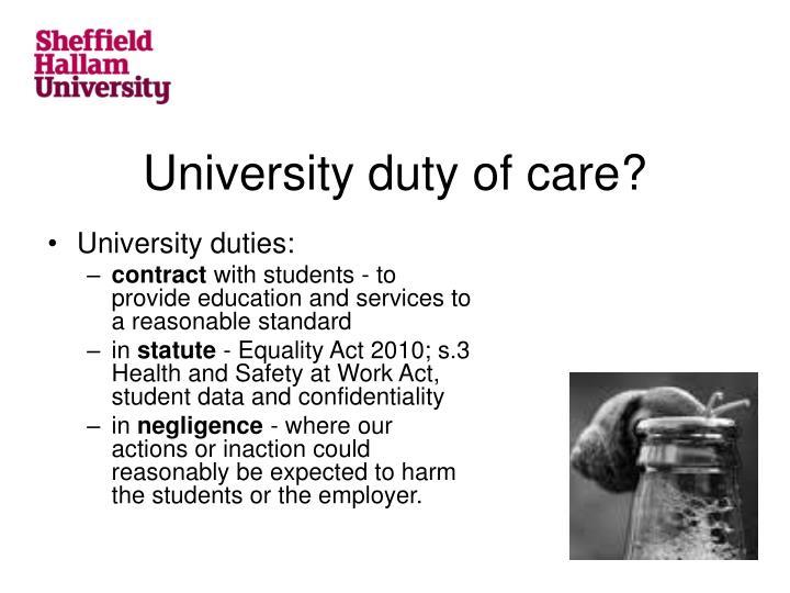 University duty of care?