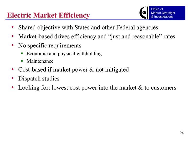 Electric Market Efficiency