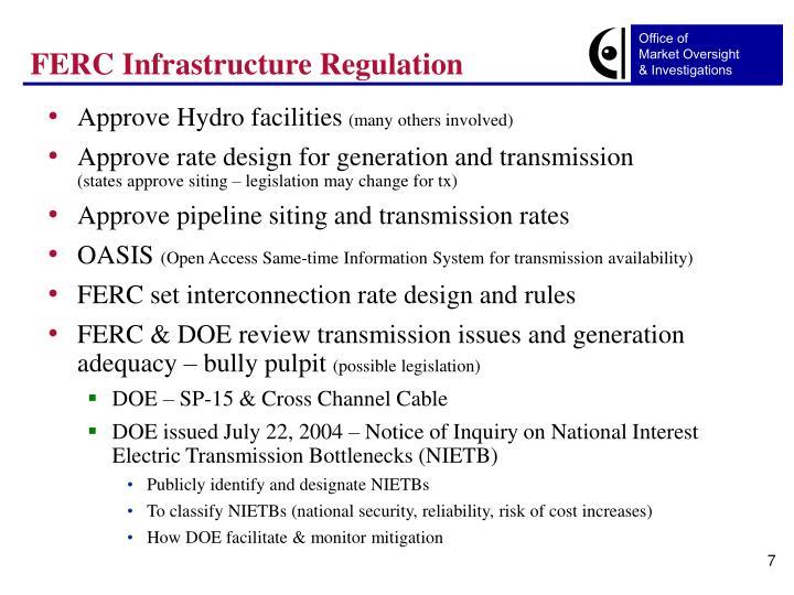 FERC Infrastructure Regulation