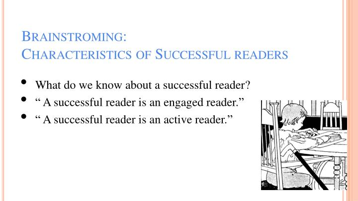 Brainstroming characteristics of successful readers