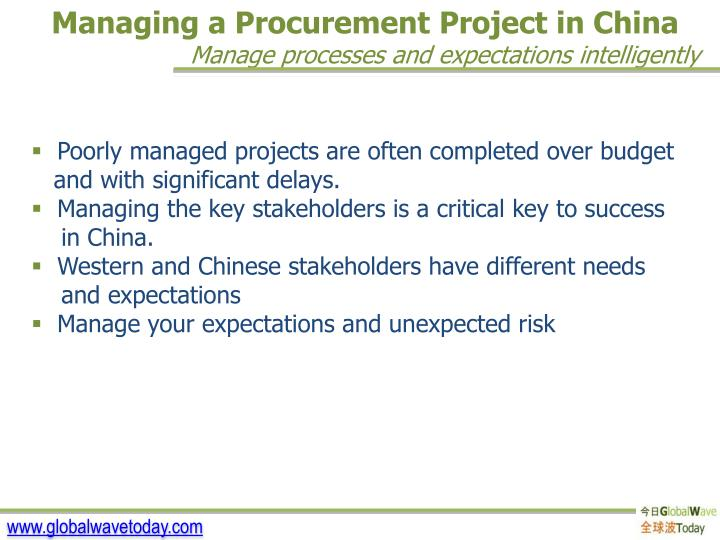 Managing a Procurement Project in China
