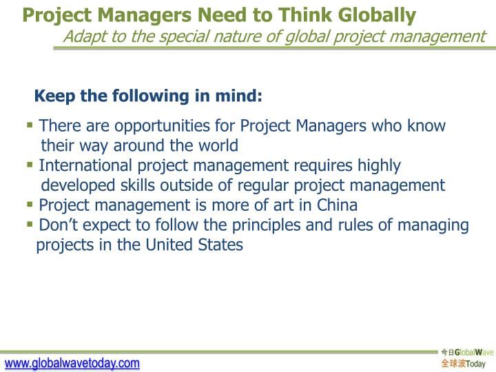 Project Managers Need to Think Globally