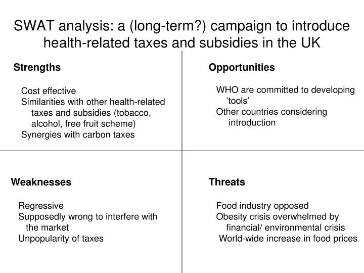 SWAT analysis: a (long-term?) campaign to introduce health-related taxes and subsidies in the UK