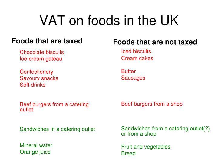 Vat on foods in the uk