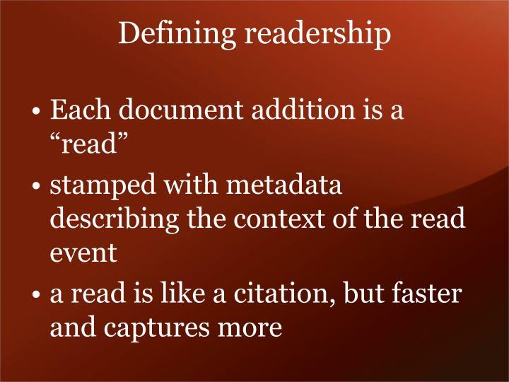 Defining readership